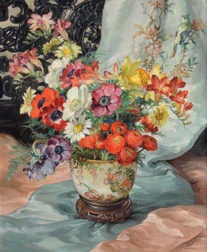 Louise COTTIN (1907-1974) Fleurs Huile sur toile Signée en bas à droite Titrée, signée...