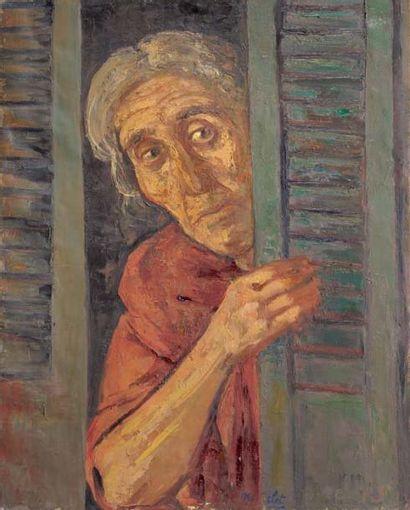 René-Jean CLOT (1913-1997) Femme à la fenêtre Huile sur toile Signée en bas au centre...