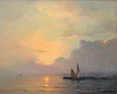 Georges RICARD-CORDINGLEY (1873-1939) Coucher de soleil, Cannes sortie du port Huile...