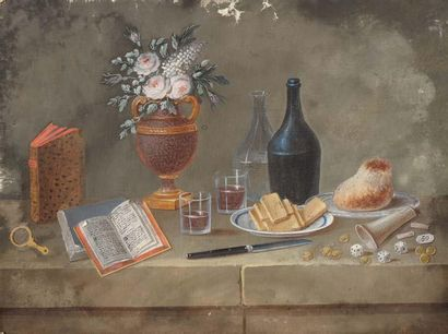LELONG Paul (1799-1846) attribué à Nature morte aux livres et aux dés Gouache sur...