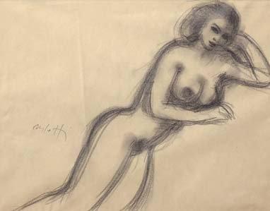 Jean-Albert CARLOTTI (1909-2003) Femme nue accoudée Fusain sur papier Signé en bas...