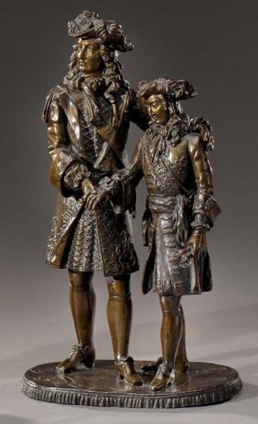 Louis XIV et le Dauphin Epreuve en bronze...