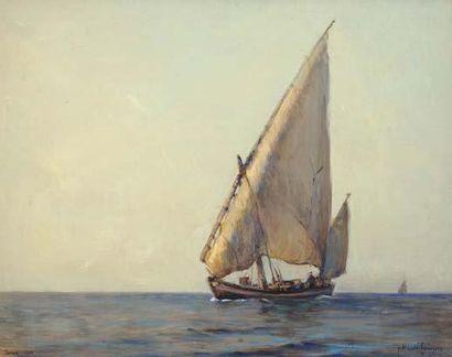 Georges RICARD-CORDINGLEY (1873-1939) Barque sur le Tage Technique mixte sur papier...