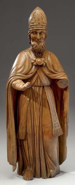 Importante statue en chêne sculpté, figurant...