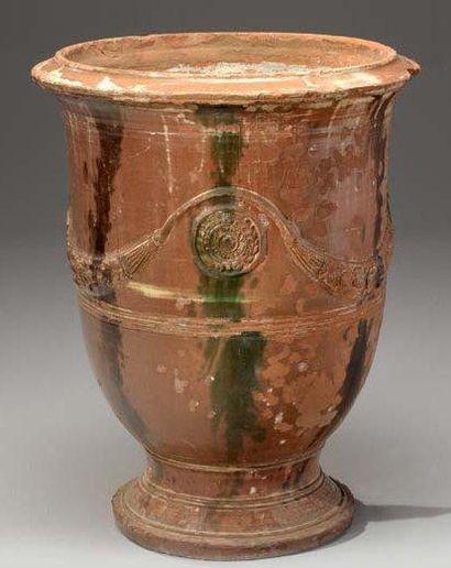 Vase d'Anduze en terre cuite émaillée H:...