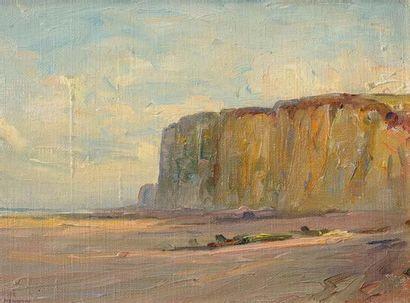 Georges RICARD-CORDINGLEY (1873-1939) Falaises en Normandie, 1928 Huile sur toile...