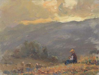 Georges RICARD-CORDINGLEY (1873-1939) Bergère assise devant la montagne, Mougins,...