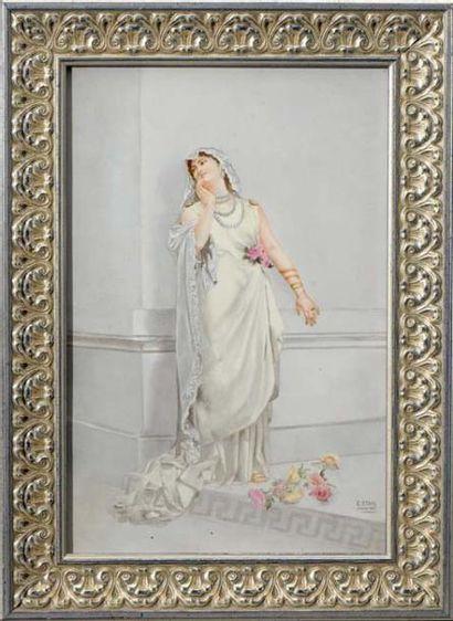 Plaque en porcelaine signée: E. STAHL, datée...