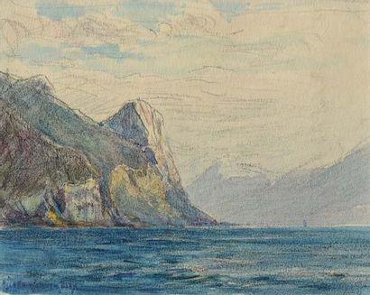 Georges RICARD-CORDINGLEY (1873-1939) Lac de Garde Technique mixte sur papier Signé...