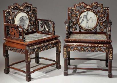 Paire de fauteuils en bois dit