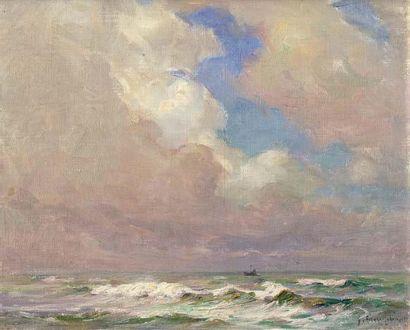Georges RICARD-CORDINGLEY (1873-1939) Crète blanche en pleine mer, 1920 Huile sur...