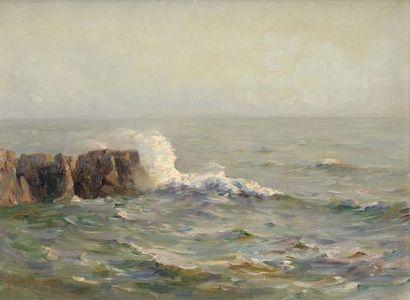 Georges RICARD-CORDINGLEY (1873-1939) Vagues sur les rochers en Bretagne, 1929 Huile...
