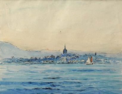 Georges RICARD-CORDINGLEY (1873-1939) Fontarabia, 1935 Aquarelle 19x25 cm Exposé...