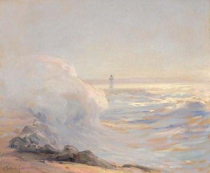 Georges RICARD-CORDINGLEY (1873-1939) La vague déferlante, 1939 Huile sur carton...