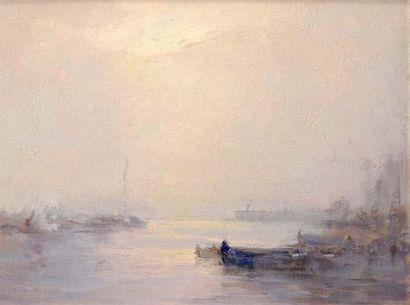 Georges RICARD-CORDINGLEY (1873-1939) Barque bleue dans le port de Cannes brumeux...