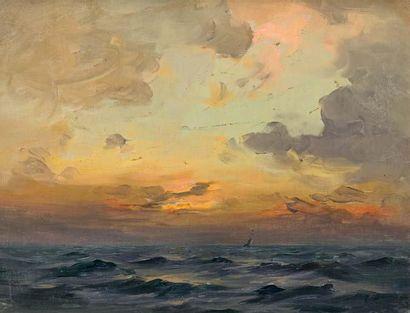 Georges RICARD-CORDINGLEY (1873-1939) Crépuscule orageux, mer du nord Huile sur toile...