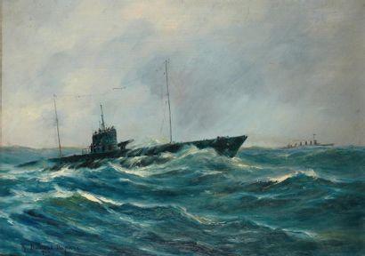 Robert DUMONT-DUPARC peintre de la Marine (1866-1930) Navire de guerre dans la tempête...