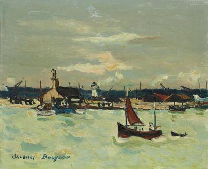 Jacques BOUYSSOU (1926-1997) Camaret Huile sur toile, signée en bas à gauche, titrée...
