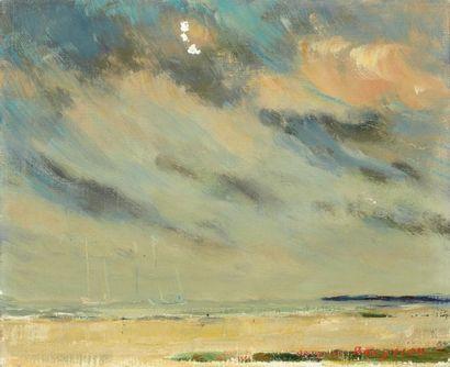 Jacques BOUYSSOU (1926-1997) La Grève Huile sur toile, signée en bas à droite, titrée...