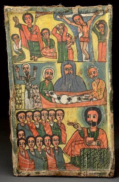 Icône Ethiopienne sur trois registres représentant...