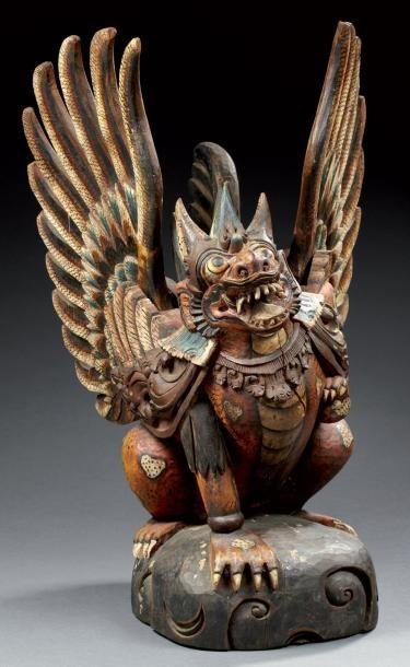Statue en bois sculpté polychrome représentant...
