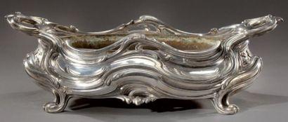 Jardinière ovale en métal argenté de style...