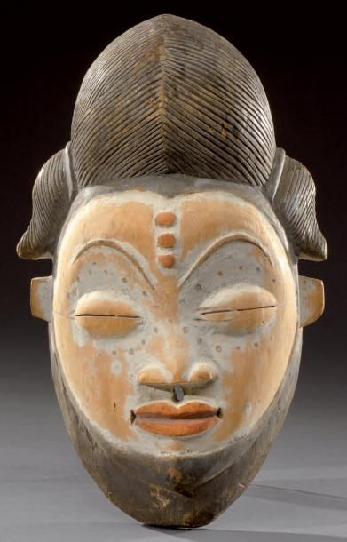 Punu. (Gabon) Masque de danse polychrome...