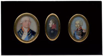Suite de trois portraits ovales en miniature...