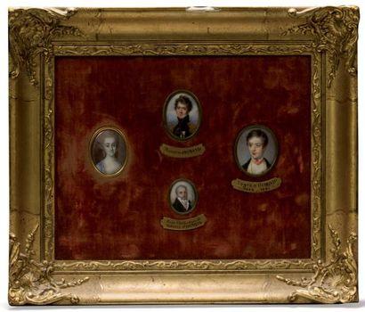 Tableaux comprenant quatre miniatures ovales...