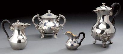 Service thé en argent composé d'une theière...