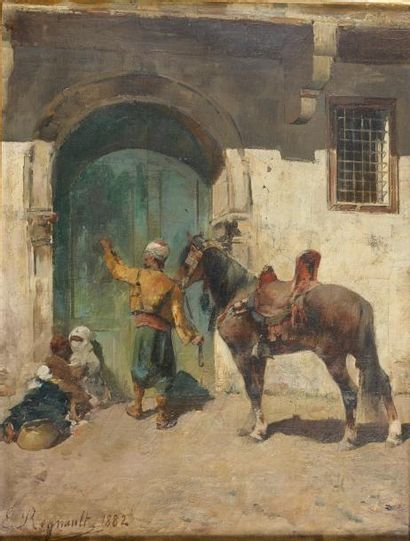 Emile REGNAULT DE MAULMAIN (1836-1897) Cavalier arabe à la porte, 1882 Huile sur...