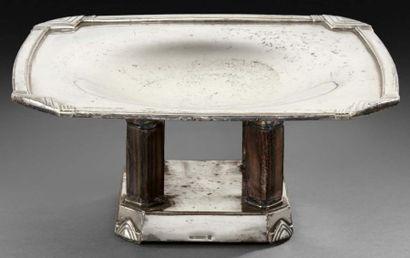 Coupe carrée à pans coupés en métal argenté...