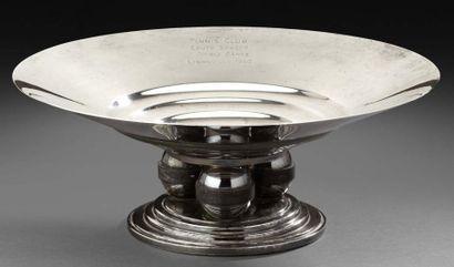 Coupe circulaire évasée en métal argenté...