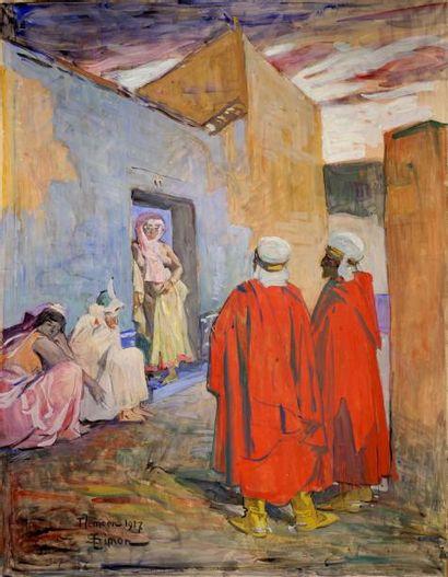 Lucien SIMON (1861-1945) Scène orientaliste, Tlemcen, 1927 Technique mixte sur papier...