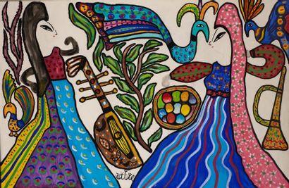 MAHIEDDINE BAYA (1931-1998) Danseuses et paons Gouache et aquarelle sur papier, signée...