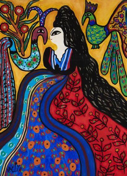 MAHIEDDINE BAYA (1931-1998) Femme aux paons Gouache sur papier, signée en bas à gauche...