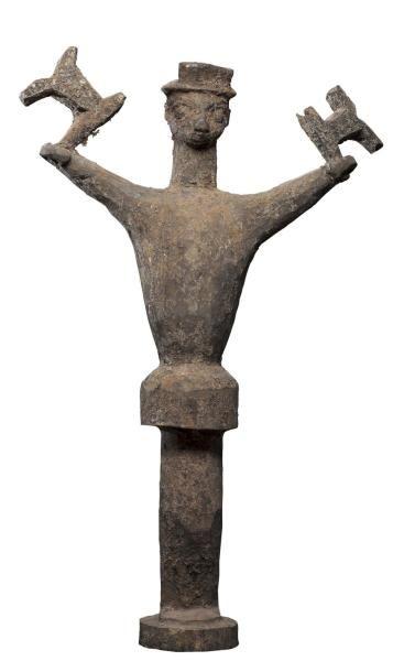 Très important fétiche - Fon - Benin anc. Dahomey Bois, patine croûteuse. Très important...