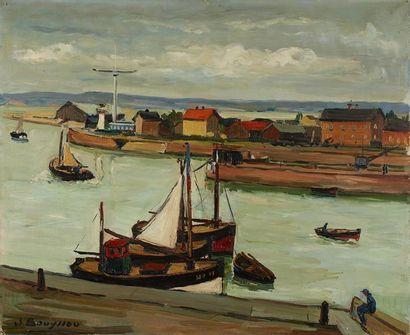 Jacques BOUYSSOU (1926-1997) Entrée du port de Honfleur Huile sur toile, signée en...