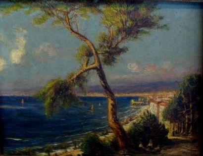 Robert DUMONT DUPARC (1866-1930) Les hauteurs de Nice Huile sur panneau, signée en...
