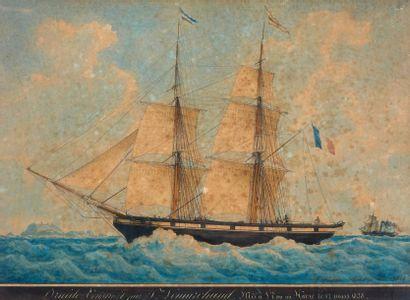 Frédéric ROUX (1805-1874) Le Druide, mis à l'eau au Havre, 12 mars 1838 Aquarelle...