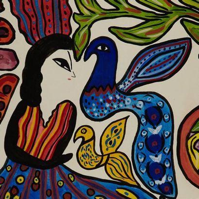 MAHIEDDINE BAYA (1931-1998) Femme-Oiseaux, 1978 Gouache sur papier, signée et datée...