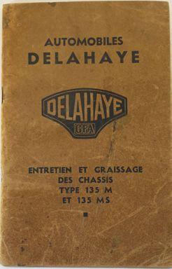 Notice d'entretien des chassis Delahaye 135...