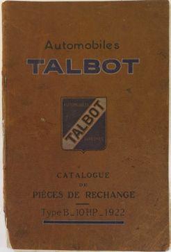 Catalogue de pièces de rechange Talbot Type...