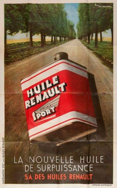 Affiche Huile Renault signée Félix Masseau...