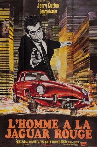 Affiche L'homme à la Jaguar rouge non entoilée...