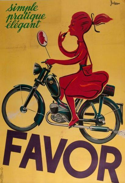 Affiche cycles Favor signée Bellenger entoilée...