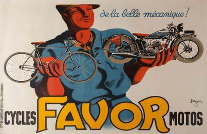 Affiche cycles Favor Mobylette signée Bellenger...