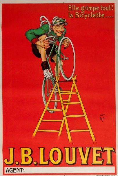 Affiche J.B Louvet cycles signée d'après...