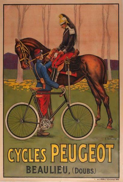 Affiche cycles Peugeot signée Vuillemin entoilée...