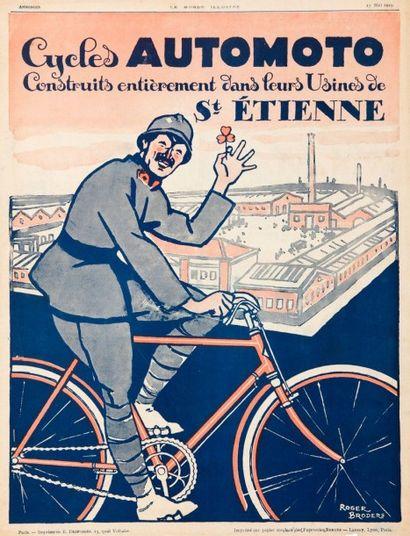 Affiche cycles Automoto St Etienne signée...